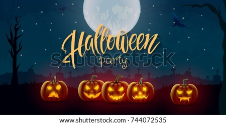 Halloween background, pumpkins. Greeting card for party and sale. Autumn holidays. Vector illustration EPS10.