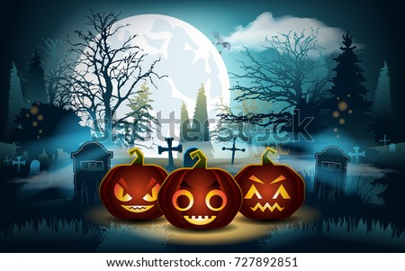 Halloween background. Pumpkins on the graveyard #727892851