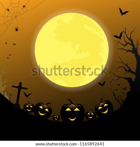 Halloween background pumpkins under the moonlight , vector illustration