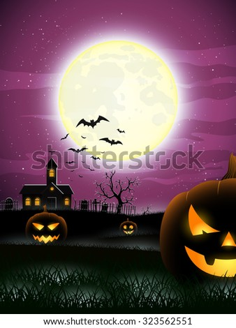 Halloween background - Scary field. Vector illustration. #323562551