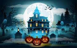 Halloween background. Scary old graveyard and castle in the woods