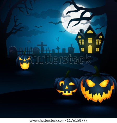 Halloween background. Spooky forest with dead trees and pumpkins,vector illustration