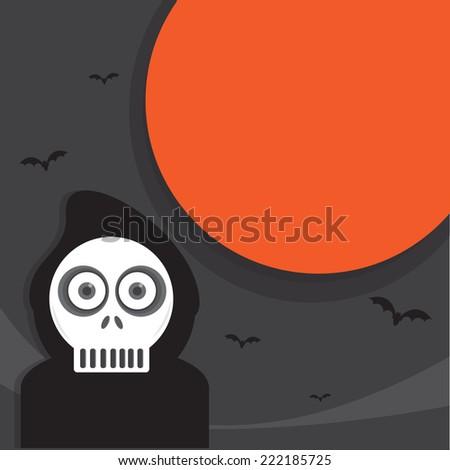 halloween background - Spooky Skeleton - vector