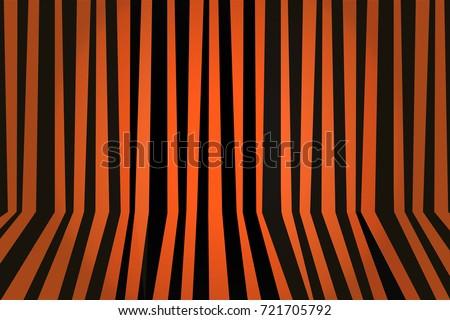 Halloween background striped room in orange and black. Vector illustration.