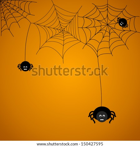 Halloween background. The spider weaves a web.