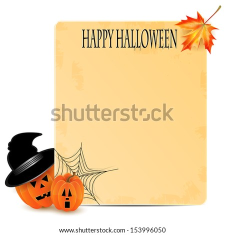 halloween background.two orange pumpkins and old sheet of paper decorated with cobwebs and autumn maple leaves.vector