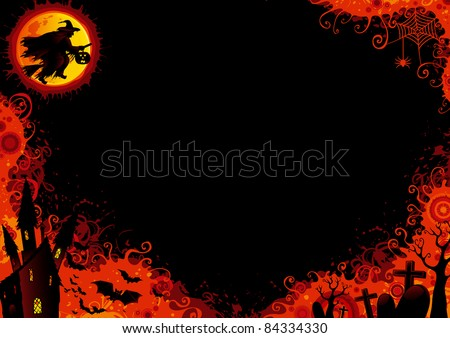 Halloween background. Vector Halloween background with witch, bats, old house, moon, trees, graveyard, grave, grave stone.