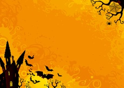 Halloween Background. Vector Halloween orange background with many flying  bats, old house, moon, trees.