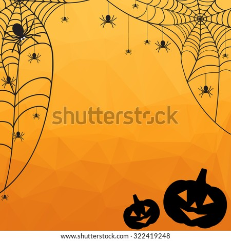 Halloween Background. Vector Halloween orange polygonal mosaic  background with spiderweb, spiders and pumpkins