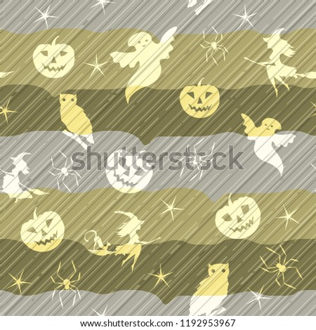 halloween background - witch on broom, spiders, pumpkins, flying bats, owl, defoliation, and ghosts on grey and blue background, vector illustration