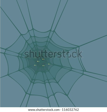 Halloween background with a spider web and spider's eyes