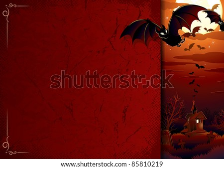 Halloween background with awful haunted house, flock of bats, full moon, bare tree and graveyard