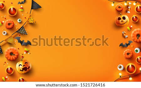 Halloween  background with candle light, pumpkin and Halloween Elements on orange color background.Website spooky,Background or banner Halloween template.Vector illustration eps 10