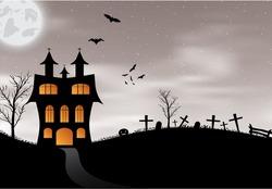 Halloween background with castle, pumpkin, bats and big moon. Vector illustration