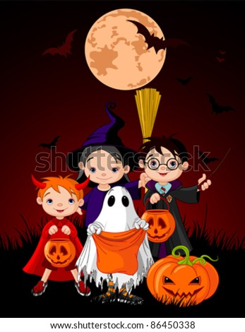 Halloween background with children trick or treating in Halloween costume - stock vector