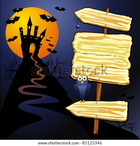 Halloween background with customizable sign, vector
