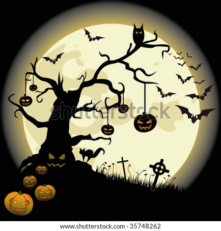 Halloween background with full moon and many fear objects.