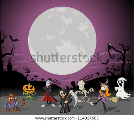 Halloween background with full moon over a cemetery with funny cartoon classic monster characters