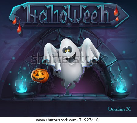 Halloween background with Ghost with pumpkin. For web, video games, user interface, design