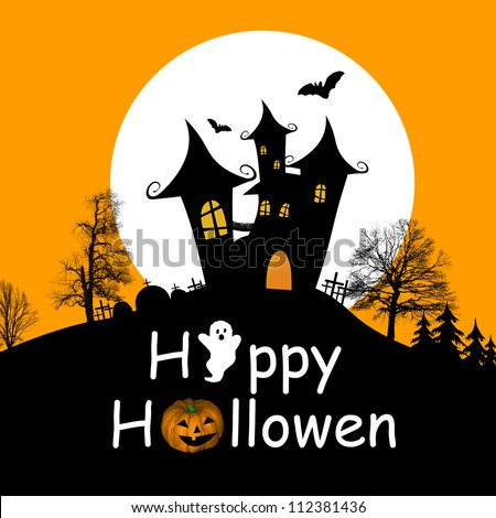 Halloween background with haunted house, bats and full moon, vector ...