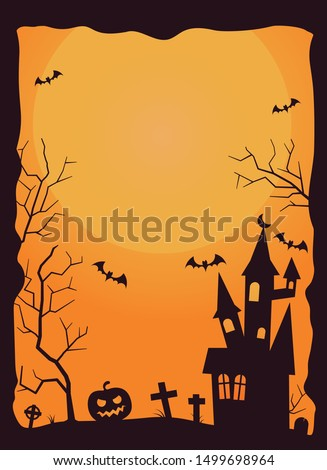 Halloween background with haunted house, bats and graveyard vector illustration. Copy space in moon.