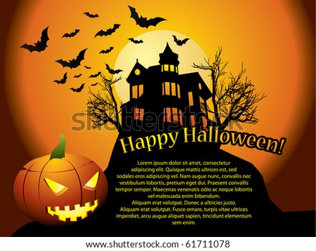 Halloween background with haunted house, bats and pumpkin