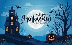 Halloween background with haunted house, full moon, pumpkins and trees