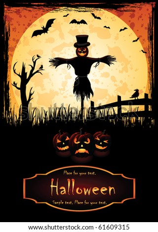 Halloween background with Jack O' Lantern, illustration - stock vector