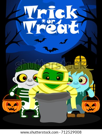 halloween background with kids
