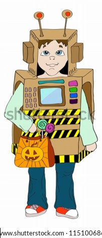 Halloween background with little Kid in robot costume,holiday illustration, vector - stock vector