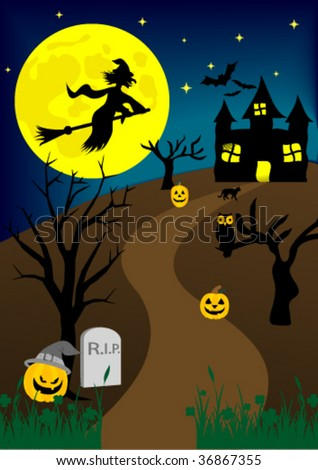 Halloween background with old hunted castle