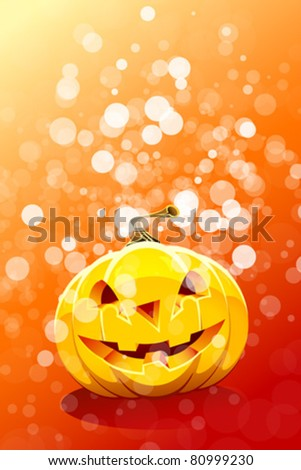Halloween background with pumpkin and sparkles for your design #80999230