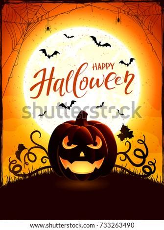 Halloween background with pumpkin. Text Happy Halloween on orange night sky with full Moon and Jack O Lantern, illustration.