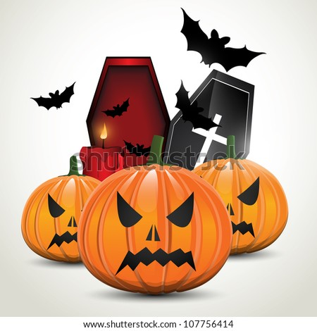 Halloween background with pumpkins and coffin