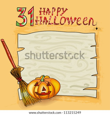 Halloween background with pumpkins, broom and place for your text