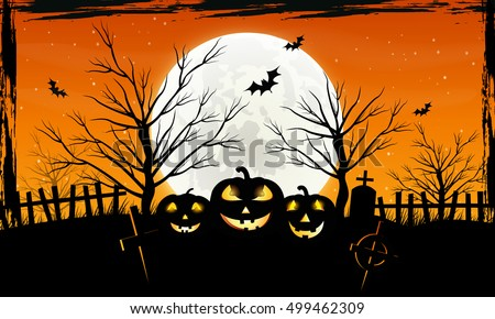 Halloween background with pumpkins on the cemetery in the dark night with full moon. Scary.