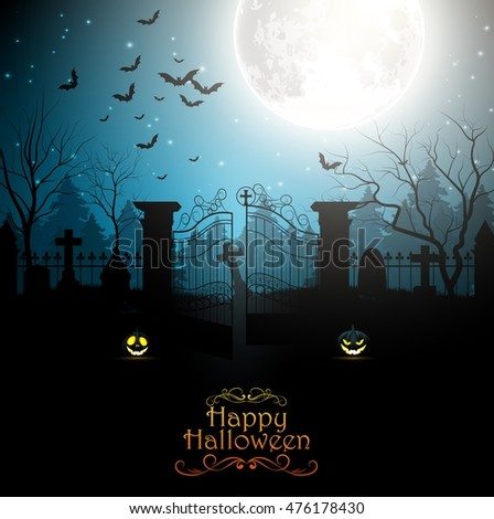 Halloween background with spooky graveyard. Vector illustration  #476178430
