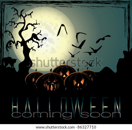 Halloween background with spooky pumpkins