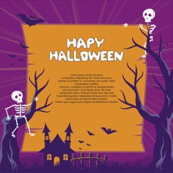 Halloween background with stylish cartoon style, creepy but funny design
