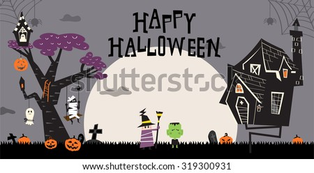 Halloween background with the haunted house and a big tree. Pumpkins in the bush and kids costumed in the ghost, hulk, mummy and the witch for trick or treat.  Spider spinning web on the top.
