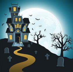 Halloween background with tombs, trees, bats, tombstones, gravey