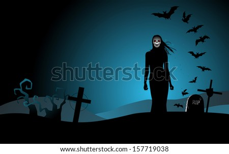 halloween background with woman