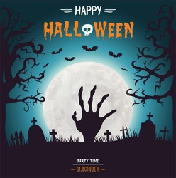 Halloween background with zombie hand on full moon
