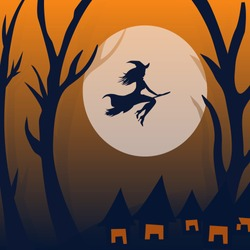 Halloween background. Young witch flying on a broomstick on the background of a full moon. Halloween haunted house and full moon background Vector illustration.