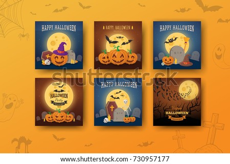 Halloween backgrounds collection. All Hallows Night holiday design. Vector templates easy to edit.