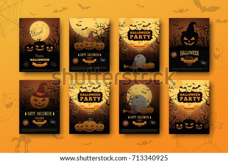 Halloween backgrounds collection. Traditional design for october events. Vector templates easy to edit.