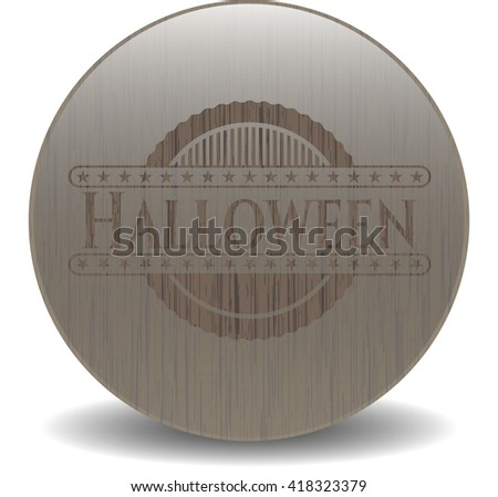Halloween badge with wood background
