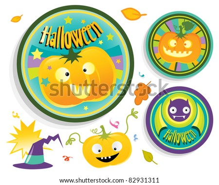 halloween badges set for children's party