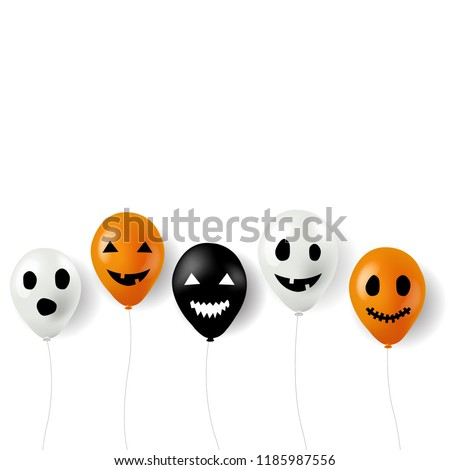 Halloween Balloons Border White Background With Gradient Mesh, Vector Illustration  #1185987556