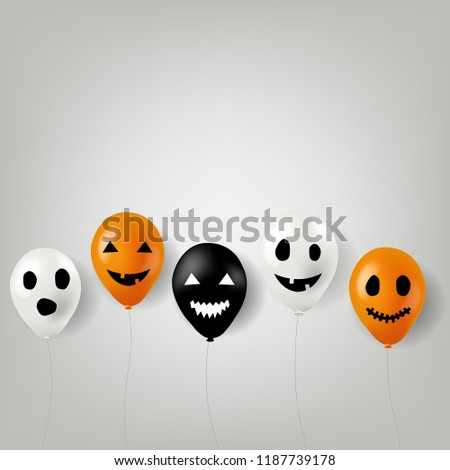 Halloween Balloons Border With Gradient Mesh, Vector Illustration #1187739178